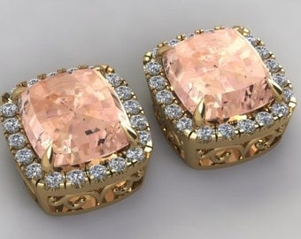 Morganite Earrings 14k Yellow Gold 8ctw Cushion Cut Pink Morganite 1.0ct Genuine Diamond Stud Earrings Vintage Design Pristine Custom Rings