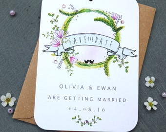 Botanical Garland Save The Date Tag