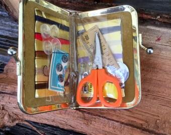 Vintage Leather Travel/Pocket Sewing kit