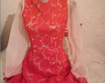 Romantic red lace dress
