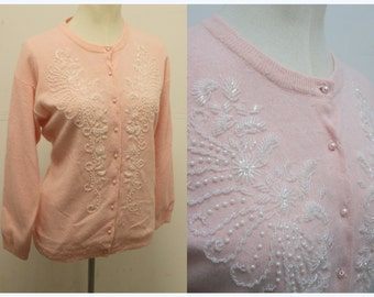 Super Cute Lambswool and ANGORA Baby Pink Beaded Cardigan - Sweater Girl - Size L