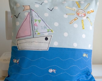 "Handmade Cushion Cover - Free Motion Embroidery - Seascape - 14""x 14"" - Cath Kidston - Kids"