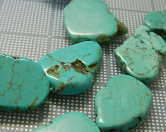 Big Dyed Natural Howlite Nugget Beads - Turquoise Howlite Nugget Beads - 5 Beads