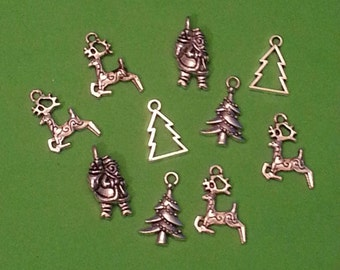 Christmas Charms/Pendants/Decor - 10pc - Antique/Silver Tone - 12mm to 22mm-Reindeer, Santa, & Christmas Trees
