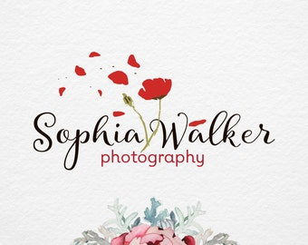 Poppy Logo, Pre made logo, Flower logo