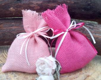 Pink Favor Bags - Burlap Favour Bags - Burlap Wedding Favour Bags - Gift Bags - Coloured Favor Bag - Baby Shower - Set of 40 - Choose Colour
