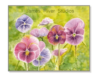 Pansy Painting Pansy Art Print Pansy Watercolor Pansy Print Purple Pansy Blue Pansy Purple Pansies Blue Pansies Pansy Decor Pansy Wall Art.
