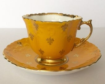 Beautiful Yellow Aynsely Tea cup and Saucer
