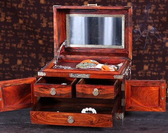 Wooden Jewelry Box Convertible Makeup Box Rosewood box