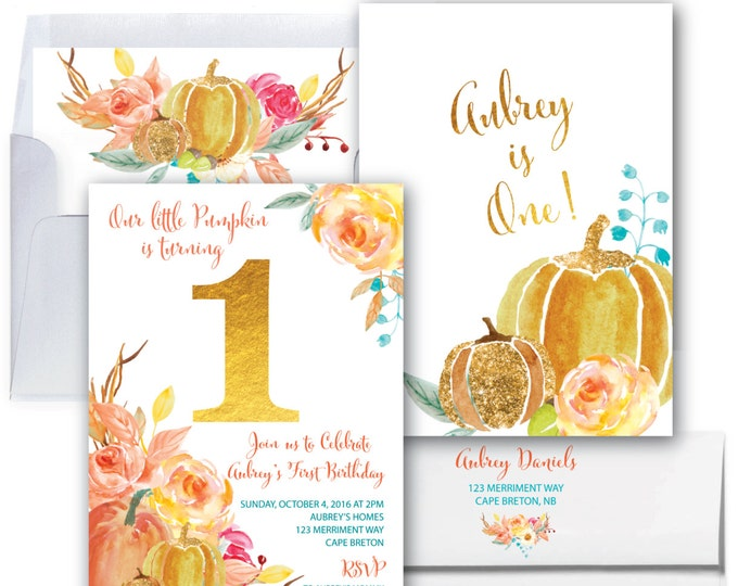 Pumpkin First Birthday Invitation // Our Little Pumpkin Invitation // One // Fall Birthday // Gold // Autumn // CAPE BRETON COLLECTION