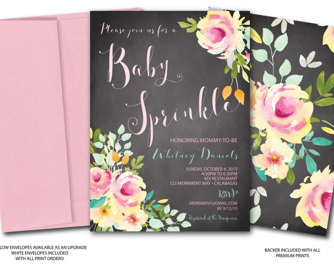 Chalkboard Baby Sprinkle Invitation //Roses // Peonies // Peony // Mint // Baby Sprinkle Invitation // Pink // Yellow// VENICE COLLECTION