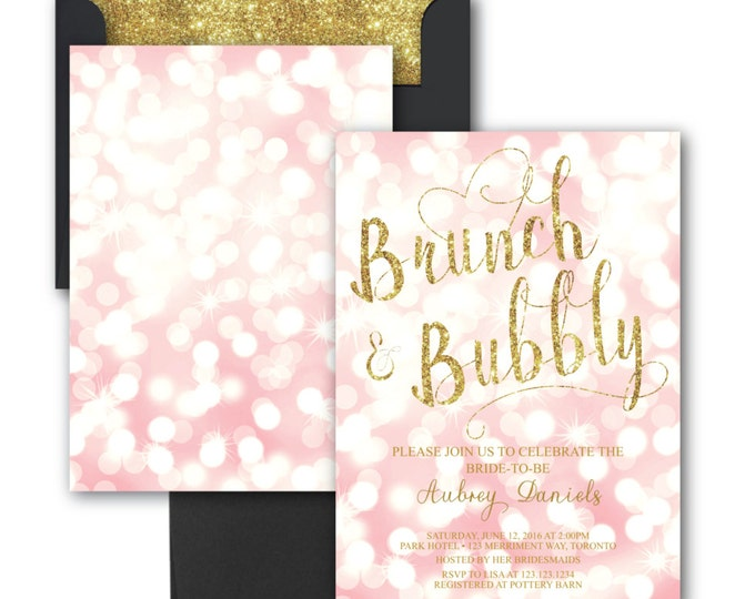 Brunch and Bubbly Invitation // Bokeh // Pink // Blush // Gold Glitter // Bridal Shower Invitation // TORONTO COLLECTION