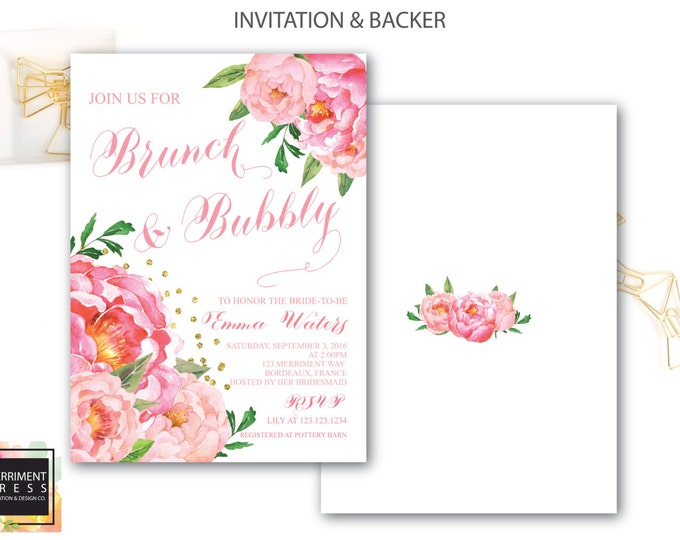 Brunch and Bubbly Invitation // Calligraphy // Peonies // Peony// Bridal Shower Invitation // Pink // Gold Glitter // BORDEAUX COLLECTION