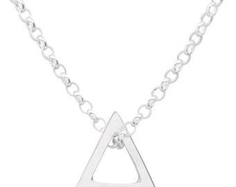 Men's Sterling Silver Geometric Triangle Necklace,Gold plated triangle necklace,Men's silver jewelry,Men's necklace,Men's geometric necklace