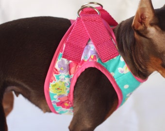 K9Exclusive Polkadot Floral Dog Harness Dog collar Dog clothes