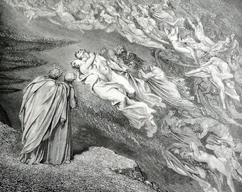 1903 Metal Engraving by Gustave Dore from Dante's Inferno Vision of Hell , Book Illustration, Black and White Wall Art Print -  Plate 16