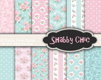 INSTANT DOWNLOAD Shabby Chic Flower Digital Scrapbook Paper, Pink Blue Flower Digital Paper Pack Shabby Chic Printable Background Paper 0015