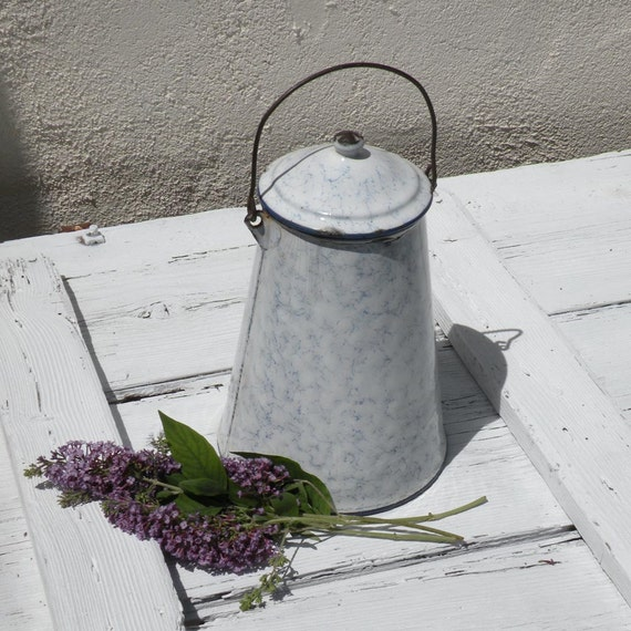 French enamel milk pail, enamelware, vintage milk pot, country home, shabby chic, French kitchen, French farmhouse, graniteware