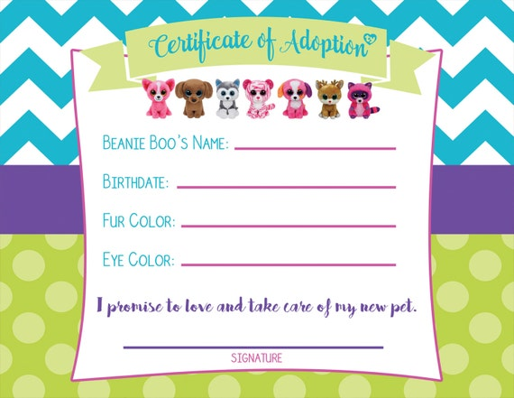 Certificate of Adoption Beanie Boo Birthday by ...