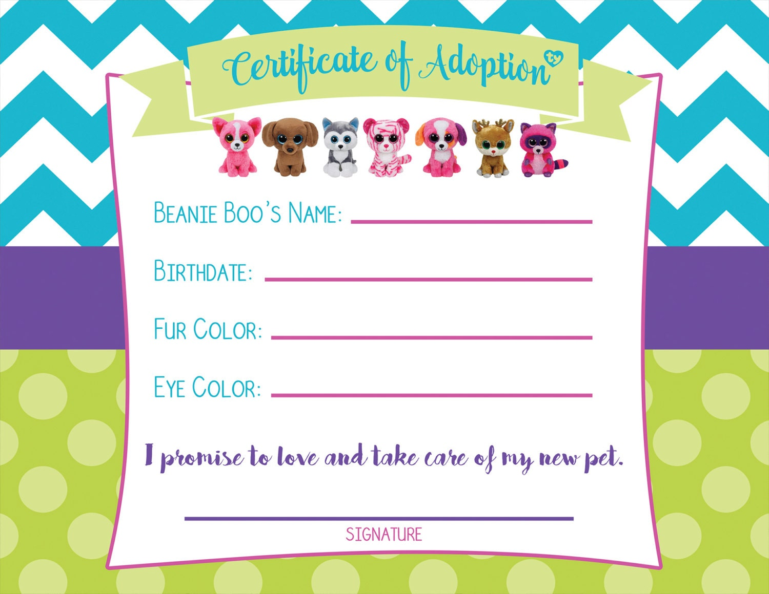 Certificate of Adoption Beanie Boo Birthday by MillennialMomLife