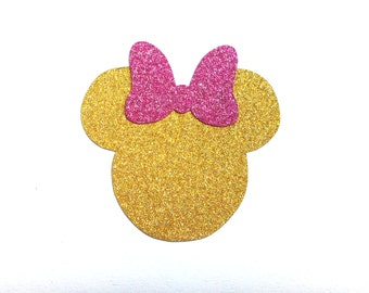 40+ Glitter (no shed) Minnie Mouse stickers with bow for birthday invitation, baby showers, planner stickers, product label or decoration