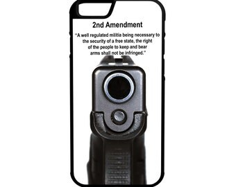 2nd Amendment Semi Auto Gun Rights iPhone Galaxy Note LG HTC Protective Hybrid Rubber Hard Plastic Snap on Case Black