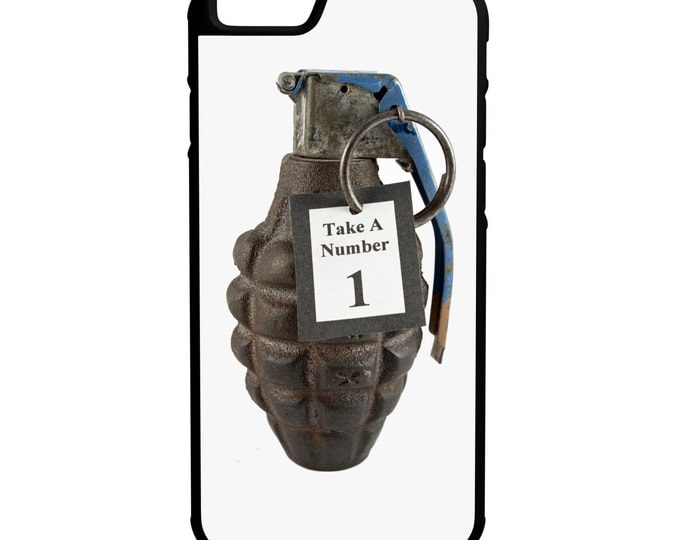 Grenade Take A Number iPhone Galaxy Note LG HTC Protective Hybrid Rubber Hard Plastic Snap on Case Black
