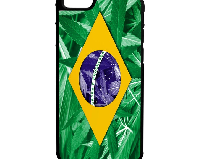 Brazil Weed Flag  iPhone Galaxy Note HTC LG Hybrid Rubber Protective Case Brasil Marijuana Dank 420