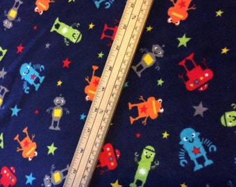 Robot velour fabric - Blue