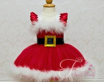 Santa Tutu Dress, Mrs. Claus Tutu Dress, Christmas Tutu Dress, Girls Holiday Dress, Christmas Pageant Dress, Christmas Dress