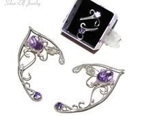 Lavender Elf Ears and ring, elf costume, elf ear cuff, elf ear wrap, elf cosplay jewelry