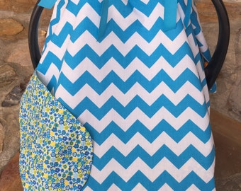 Bright blue chevron and blue/ yellow floral car seat canipy, newborn carrier cover, baby shower gift