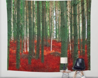 woodland wall tapestry, large size wall art, wall decor, bohemian tapestry, wall hanging, nature, zen, wanderlust