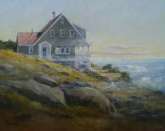 "Maine Island print, Monhegan Island print, Crashing Wave print, giclee by Barbara Applegate, from the oil painting ""Lifting Fog, Monhegan"""