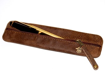 Pencil case / Pen bag / Pouch waxed leather in brown for MEN  UNIQUE