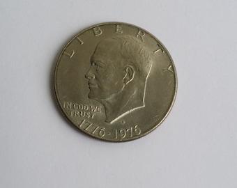Amazing Vintage 1776-1976 President Dwight Eisenhower Bicentennial One Dollar Coin.