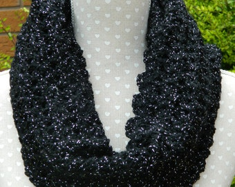 Infinity Scarf, Snood in Black with Silver Flecks