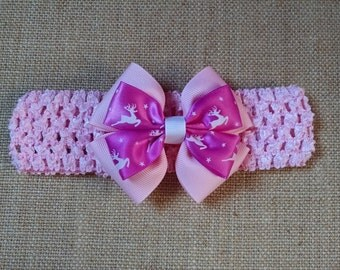 Baby Headband, Christmas Headband, Reindeer Headband, Baby Hair Accessory, Pink Christmas Bow, Girls Christmas Bow, Baby Christmas Bow