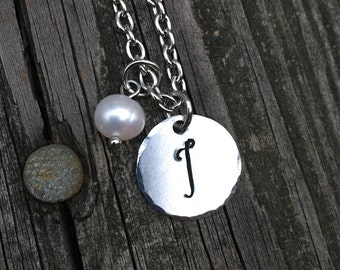 """Initial """"I"""" Necklace Hand-stamped with freshwater pearl & stainless steel chain"""