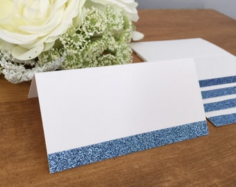 25 - Blank Blue Glitter Wedding Place Cards
