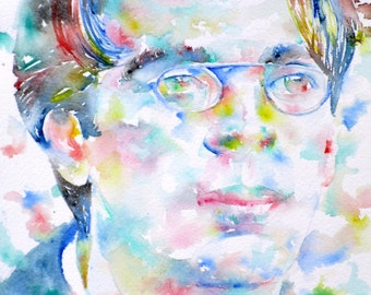 W. B. YEATS  - original watercolor portrait - one of a kind!