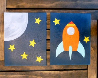 Rocket Wall Art Set Painted Wall Art Acrylic Paintings 8x10 Wrapped Canvas Space Nursery