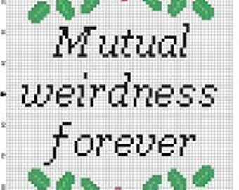 Mutual Weirdness Forever - Wedding Cross Stitch Pattern - Instant Download