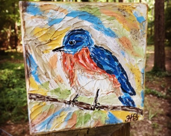 Bluebird painting, Bird painting, textured art