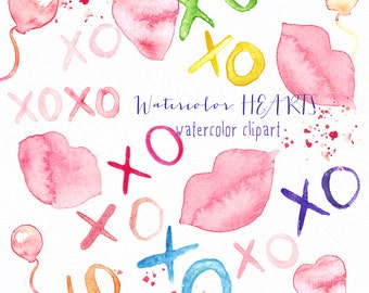 Hearts and kisses, ballonsWatercolor clipart , clipart hand drawn.  Valentines day clip art. Love clipart.