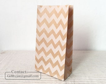 x100 Chevron Kraft Paper Gift Bags_Wedding Party Favor treat candy bags _Stand up paper bags