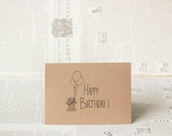 Dog Sketch Happy Birthday: Brown Kraft Paper Card