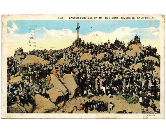 riverside california vintage postcard mt rubidoux easter