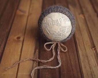 OOAK Newborn Variegated Wool Bonnet - charcoal/gray/brown