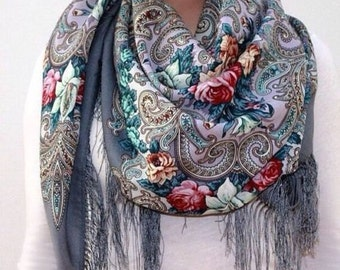 Russian, Authentic, Original, Pavlovo Posad Shawl, Scarf 100% Wool Free shipping